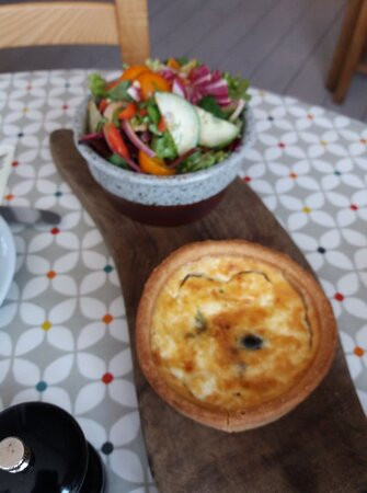 Lovely fresh salad and delicious feta and olive quiche