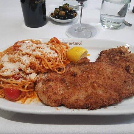 Scaloppine alla Milanese con Pasta - veal escalope in golden breadcrumbs with pasta pomodoro