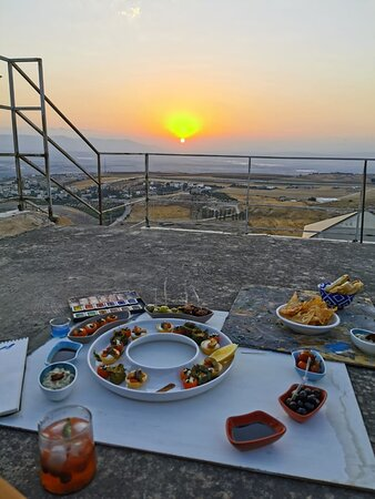 Appetizers at the Studio's roof - watching the sunset