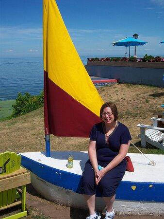 Sailboat bench in Olcott