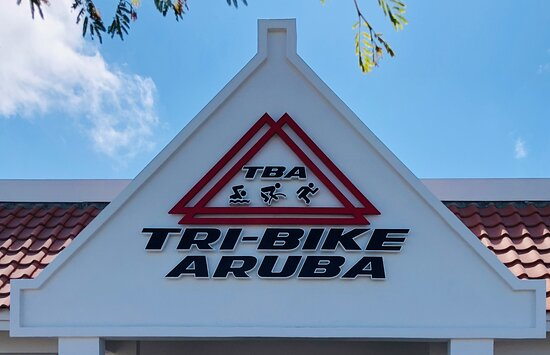 Santa Cruz, Aruba: Logo sign at the entrance of TRI-BIKE ARUBA