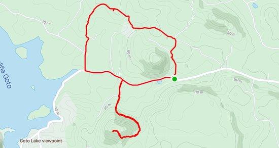 Route op Strava. 6,36km met 233 hoogtemeters
