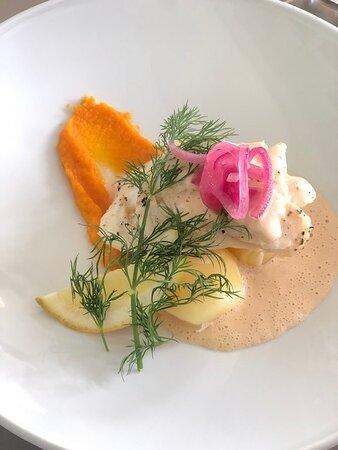 Delicious fish dish at Hulta Bollebygd Golf restaurant