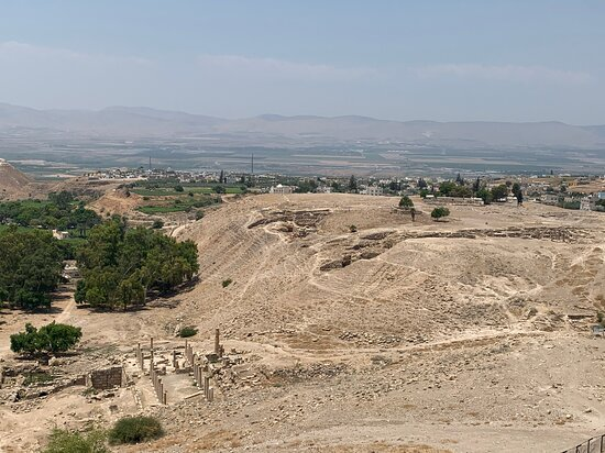 Irbid Governorate, Jordania: Birds' eye view with Palestine/Israel in distance