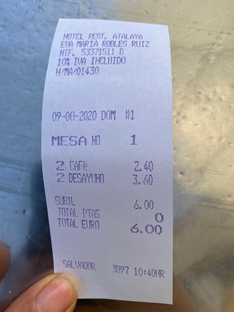 Hotel Restaurante Atalaya: Ticket.