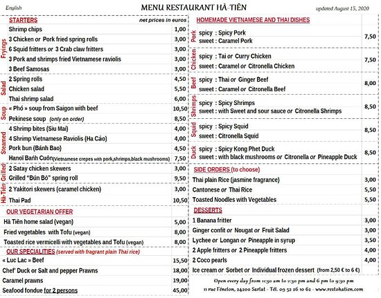 English In Site Menu Updated August 15 2020 Prices Are Taxes And Service Included Picture Of Restaurant Ha Tien Viet Thai Sarlat La Caneda Tripadvisor