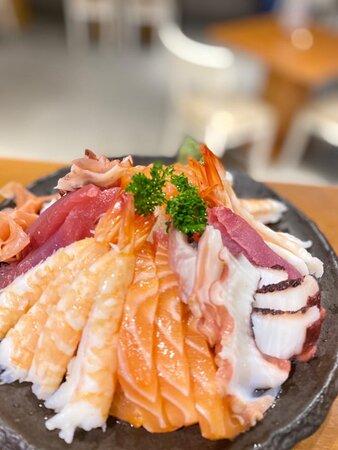Just a few of our favorites! Fresh Sashimi: Salmon, Taco, Ebi & Tuna. These delicious Sashimi have been with us from the start.  #Sashimi #SushiAddict