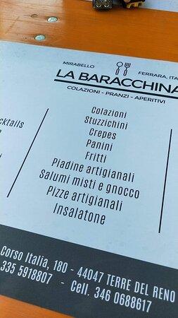 La Baracchina - Mirabello  dal menù