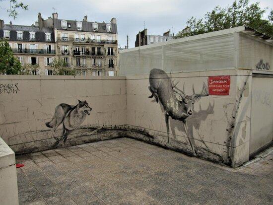 """Fresque """"le Renard Et Le Cerf"""""""