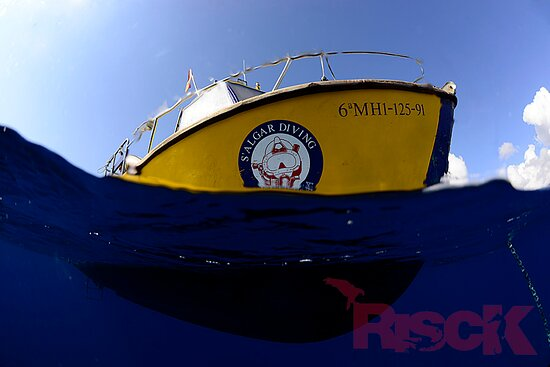 Sant Lluis, Espagne : Salgar Diving Menorca. Marine Reserve Isla del Aire Our Dive Boat ¨While You´re Down There¨
