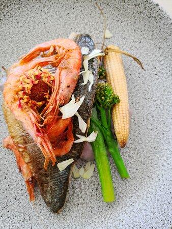 Wildbass with King prawn