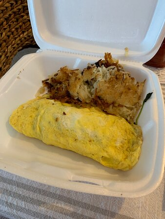 Greek omelette with has browns