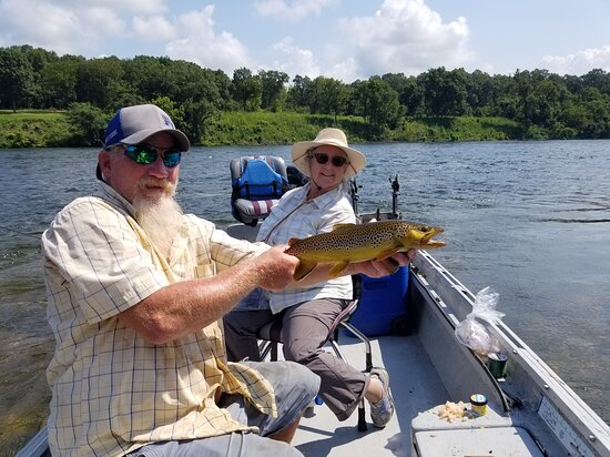 ‪‪Cotter Trout Dock Guided Trout Fishing Tours‬: A nice brown trout caught with Doug and Cotter Trout Dock‬