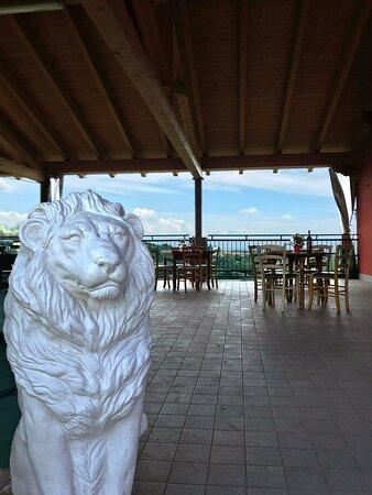 Belvedere Langhe, Italia: La nostra terrazza con la nostra mascotte