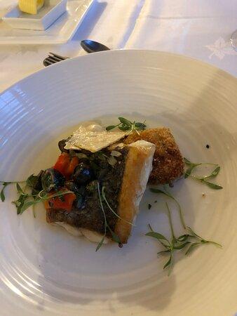 Fressingfield, UK: Hake from the tasting menu