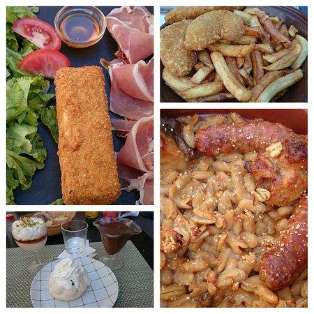 Salade de chèvre pané Menu enfant : frites nuggets cassoulet Desserts : mousse au chocolat / pavlova aux mures / et dessert à la fleur d'oranger miel  et pistache