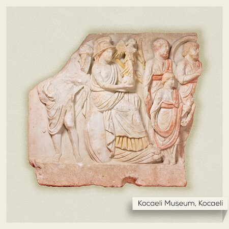 Kocaeli Province, Turkey: Nicomedia is known in ancient sources for its impressive structures, one of which was found in Çukurbağ. The artifacts discovered are striking with their well-preserved & lively colors in Roman art. This relief features the goddess Roma holding Nike and a spear in her hands, joined by a civilian passage.    #Turkey #Kocaeli #Museum #MuseumFromHome