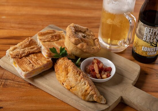 Our hot snacks platter with a refreshing local brew