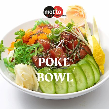 """""""Poke Bowl"""": Fresh cubed Tuna(ahi) or salmon marinated with poke sauce & ponzu sauce, topped with masago(roe), seaweed salad, avocado,cucumber, sprout and scallions over seasoned rice."""