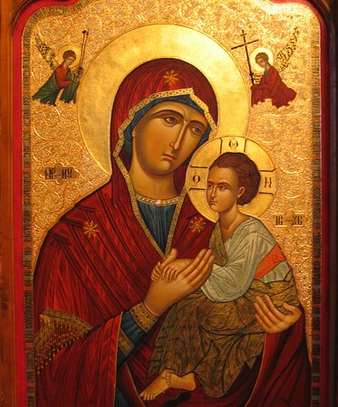 Cartisoara, Ρουμανία: Church painting of Virgin Mary made by the monks at the Monastery