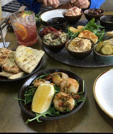 Platter and prawns