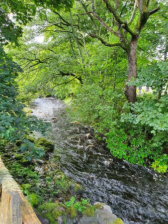 New Abbey, UK: River at the bottom of Limetree House