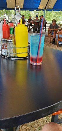Shenandoah, IA: Blue bomb drink with condiment tray in background