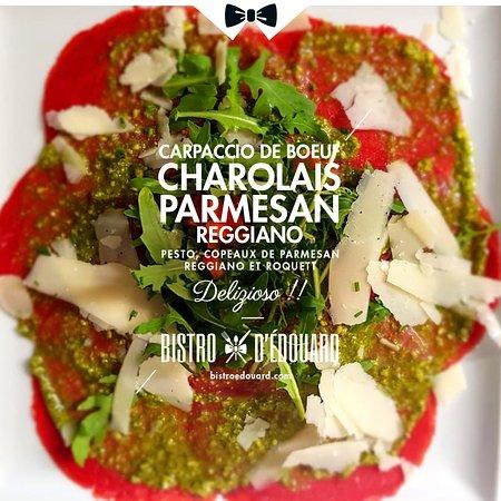 Une entrée en matière qui à du goût avec le #Carpacciodebœuf Charolais et copeaux de #Parmesan😋😋 De la finesse et du caractère au Bistro d'Édouard de Courbevoie et de La Défense💪💪👊