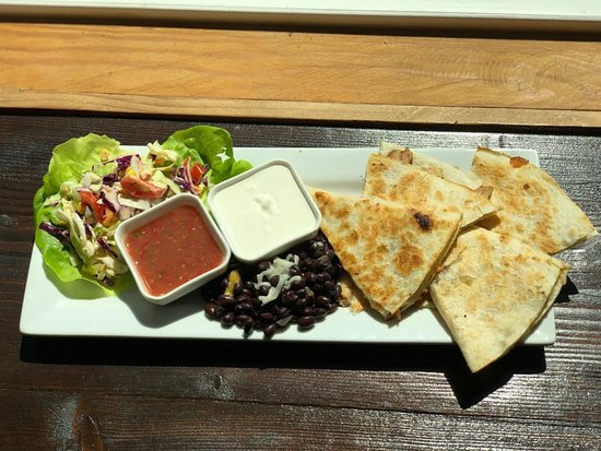 Myrtle Creek, OR: Grilled Chicken Quesadilla with a Spanish Coleslaw & Black Beans