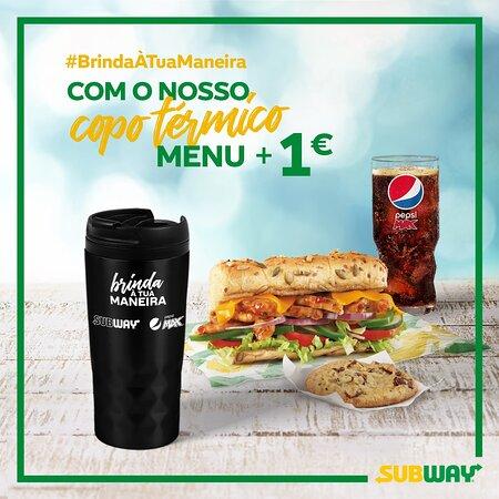 Vamos contigo para todo o lado! Recebe o teu copo térmico Subway com um pedido de menu + 1€ e #BrindaÀTuaManeira, protegendo o ambiente com este copo reutilizável e dispensando plásticos de utilização única 👌