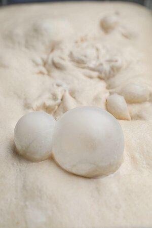 Long leavening bubbly dough.