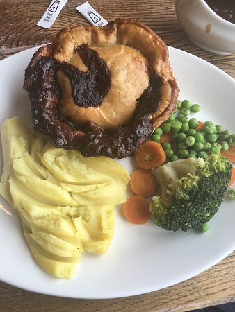 Pie and mash. Bendy veg, crusty mash and a pie that had been kept warm for so long it was difficult to cut.