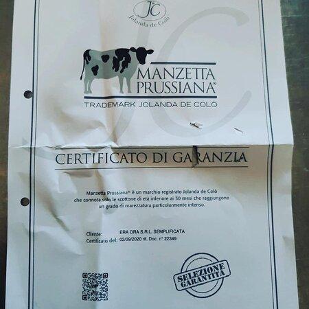 Certificato manzetta Prussiana