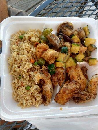 Kung pao shrimp, Hawaiian chicken, fried rice