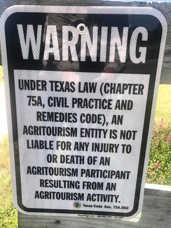 You will be visiting our ranch...just know there are natural hazards and inherent dangers on a ranch and with being in the Frio River. By visiting, you accept these risks and will see these Warning Signs about your engaging in an Agri-Tourism Activity.