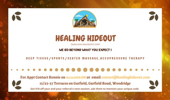 Woodridge, أستراليا: Our Wellness Clinic is located locally at Terraces on Garfield. Our massage therapist can perform deep tissue/relaxation/sports/chair/acupressure massage. We also offer a FREE postural analysis and offer our recommendations about your fitness and aim to help you reach your goals.  We go beyond what you expect!