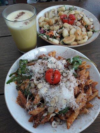 Golden milk, gnocchi with almonds & veggies & pasta with parmesan & walnuts