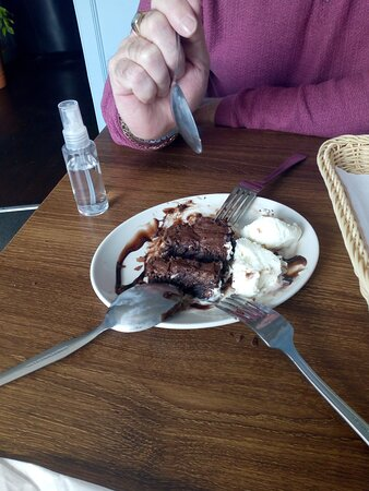 Brownie and ice-cream lovely. We shared