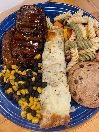 Bingham, ME: late lunch - beef, pasta, black bean corn, cheesy bread (in the center) and chocolate chip cookie