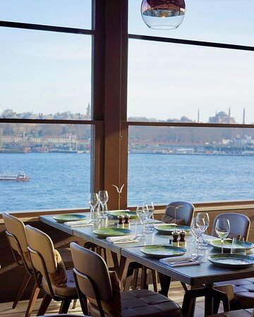 A table setup overlooking the Bosphorus