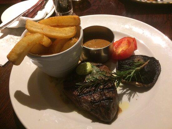 Rare fillet steak, pepper sauce