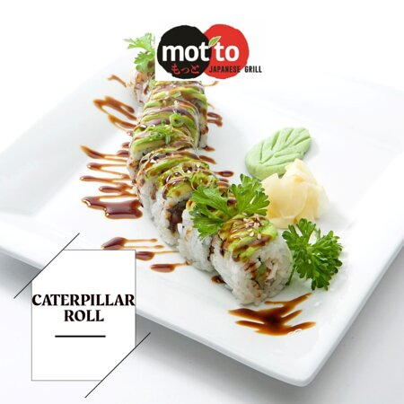 """""""Caterpillar Roll': Freshwater-eel (unagi), crab mix, cucumber, topped with the layers of avocado, green onions & sesame seeds, drizzle with eel sauce."""