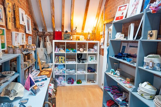 Warwickshire, UK: inside view of the shop in summer