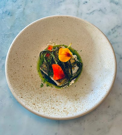 Hake a la plancha, pickled monks beard, oloroso and squid ink sauce