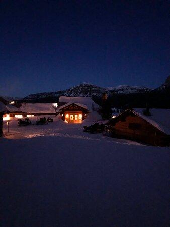 Brooks Lake Lodge lit up.