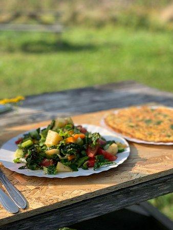 Nikola-Lenivets, Ρωσία: Омлет и салат из сезонных овощей