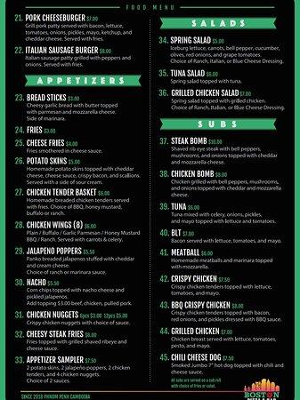Boston Pizza & Bar menu.