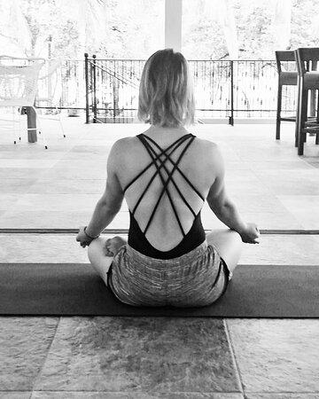 Socially distanced open air yoga studio.