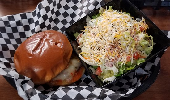 Carthage, IL: Dirty Bird Sweet & Spicy Burger and side salad