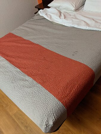 Stained and ratty bed spread.